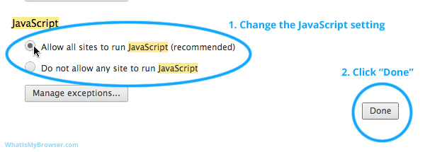 Type in 'JavaScript' into the search field at the top of the Settings screen.