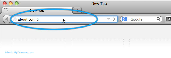 Firefox address bar with about:config entered into it